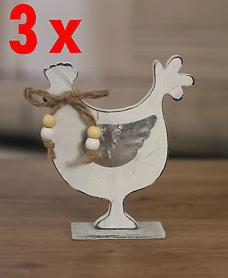 Pack of 3 x Country Style Wooden Chook Home Decor 14cms. BRAND NEW