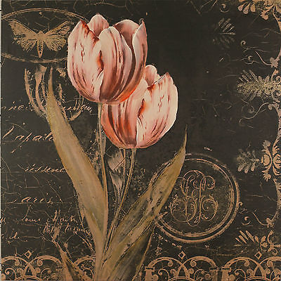 Dorothy Valmason 'Flowers in Brown 2' Giclee Canvas Painting Art. 80x80cms