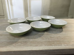 6 x Ceramic Condiment Dishes Green Sauce Bowls Decor Bowls Serveware 12cms NEW