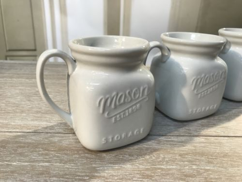 3 x Mason Jar Creamer Tea Serveware White Ceramic Cup Mug Storage Homewares 9cms
