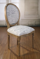 Dining Chair French Script Linen Oak