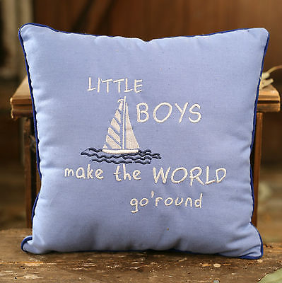 Cushion Throw Decor Pillow Embroidered Sail Boat Filled 28cms BRAND NEW Boys