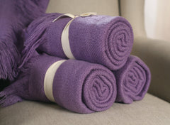 Throw Rug Soft Touch Throw Blanket Decorative Bedding Blanket 127x150cms - MAUVE