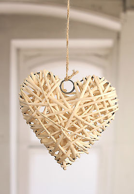 Hanging Woven Ornament Heart Rustic Provincial Home Decor 20cms NEW