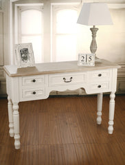 Hunter Desk French Provincial Antiqued Style 8 Drawers