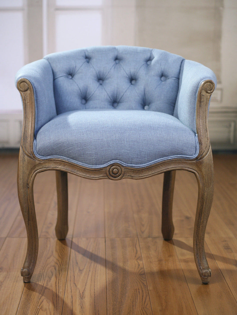 Picture of: Beaumont Dining Chair French Provincial Oak Blue Linen Buffet And Hutch