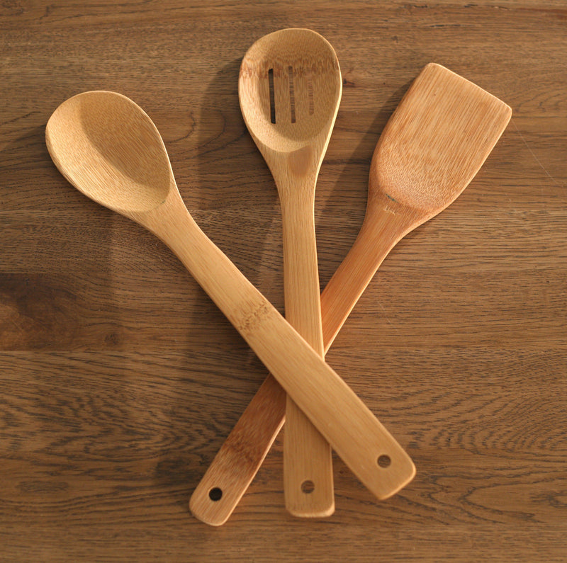 Set of 3 Bamboo Kitchen Utensils Spoon Spatula Cooking Spoons Kitchenware NEW