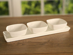 Condiment Bowls on Tray Ceramic Serveware Homewares Gift 25cms