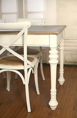 Setting 7 PIECE French Provincial Dining Table & Cross Back Chairs Cafe Style