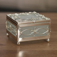 Jewellery Trinket Box Filigree Metal Glass Sides 7.5cms