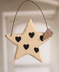 Carved Wood Star with Heart Features 20cms. BRAND NEW.