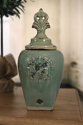 Rustic Green 'Fleur' Canister French Provincial Style Vase 40cms BRAND NEW Tall