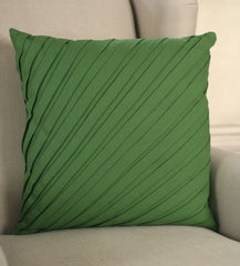 2 x Decorator Cushion Covers 45x45cms - Pleated Moss Green Throw Pillows NEW