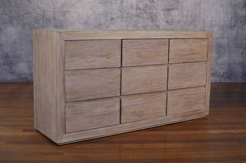 Huge Chest of Drawers Bedroom Storage Chest Teak Industrial 9 Drawer 172cms