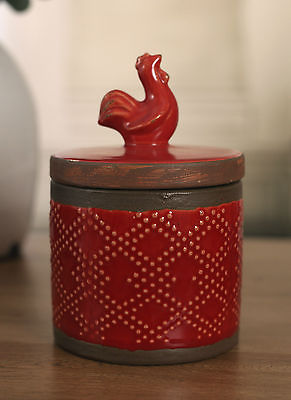Canister Antique Style Rustic Rooster Home Decor 20cms BRAND NEW. Red