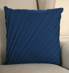 Decorator Cushion Cover 45x45cms Pleated French Blue Throw Decor Pillow NEW