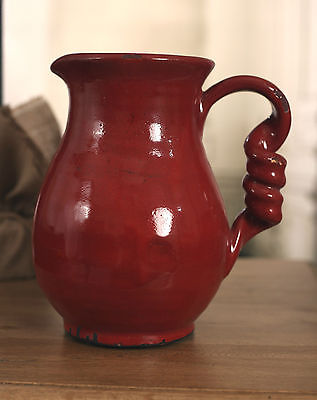 Jug Vase Rustic Red Decor Ceramic Twisted Handle Home Decor BRAND NEW