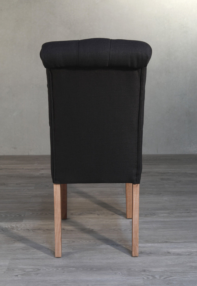 Dining Chair Tufted Roll Back Hardwood French Provincial Hamptons Black Button