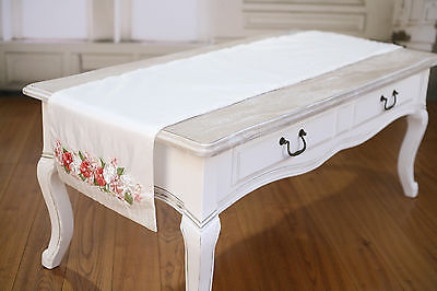 Table Runner White with Embroidery Home Decor Party Decoration 150cms NEW