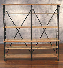 Bookcase Shelving Storage Unit French Industrial Metal 200cms Wide