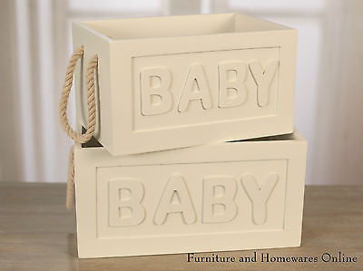 Set Of 2 Baby Storage Boxes With Rope Handles Home Decor Gift BRAND NEW