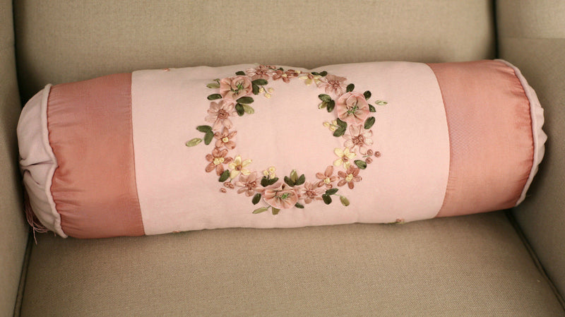Cushion Throw Pillow Embroidered Flower Pink Bolster Filled 45cms BRAND NEW