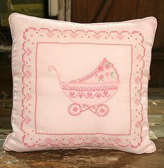 Cushion Pram Embroidered Girls Nursery Home Decor Throw Pillow (Filled) 30cms