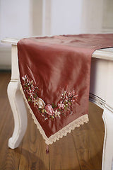 2 x Table Runners Pink with Embroidery Home Decor Party Decoration 150cms