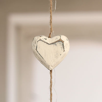 6 x Strings of Hanging Wooden Hearts Bulk Lot Home Decor Wedding 166cms Cream