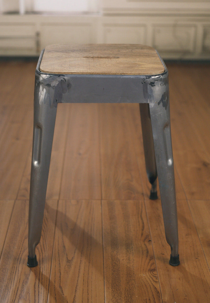 Stool Metal Base Industrial Hardwood French Hardwood Rustic Bar Stool