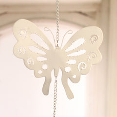 Rustic Hanging Tin Butterfly Hanger Home Decor Gift 13cms BRAND NEW. Cream