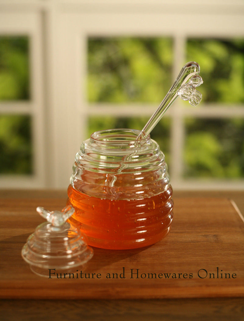 Beehive Honey Pot Server with Dipper Breakfast