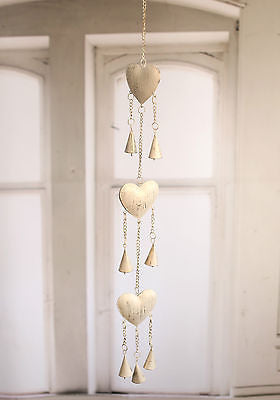 Rustic Tin String of Hearts & Bells 94cms