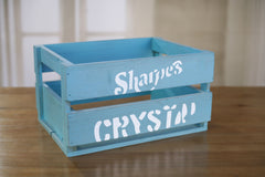 Storage Crate Aqua Vintage Style Timber Retro Home Decor Organisation 40cms