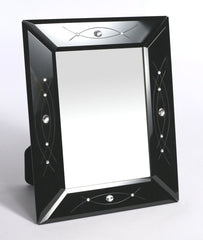 Photo Frame Stunning Black Glass with Diamante Decor 4x6 Size Picture Frame NEW