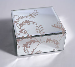Mirrored Glass Pink Flower Pattern Jewellery Trinket Box 12cms
