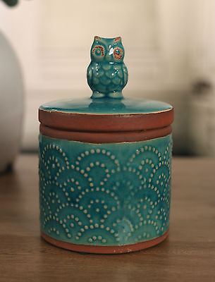 Canister Antique Style Rustic Owl Decor French Provincial 20cms BRAND NEW Teal