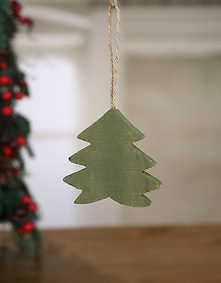 Christmas Tree Ornament Festive Hanging Wooden Tree Decoration 10cms NEW