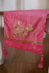 2 x Table Runners Pink with Embroidery Pink Home Decor Party Decoration 150cms
