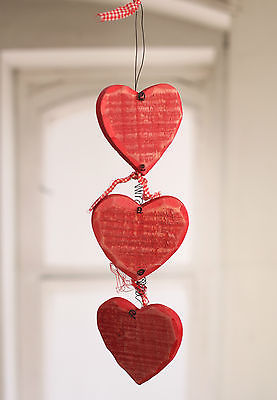Hanging Wooden Hearts Home Decor Party Favour 35cms