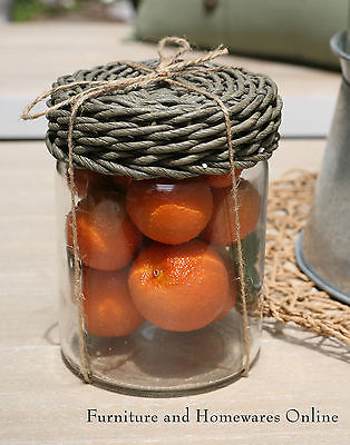 French Provincial Glass Jar with Faux Fruit  Oranges