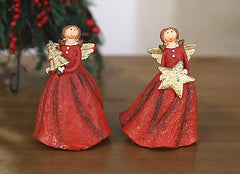 Set of 2 Christmas Angel Statue Ornament Festive Decoration Home Decor 15cms
