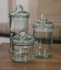Set of 3 x Glass Air Tight Canisters Fresh Kitchen Storage Decor BRAND NEW