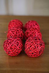 6 x Decor Balls Vase Filler Woven Handmade Home or Wedding Decor Red Ball New