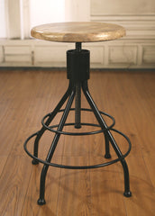 Stool Metal Base Adjustable French Industrial Hardwood Bar Stool
