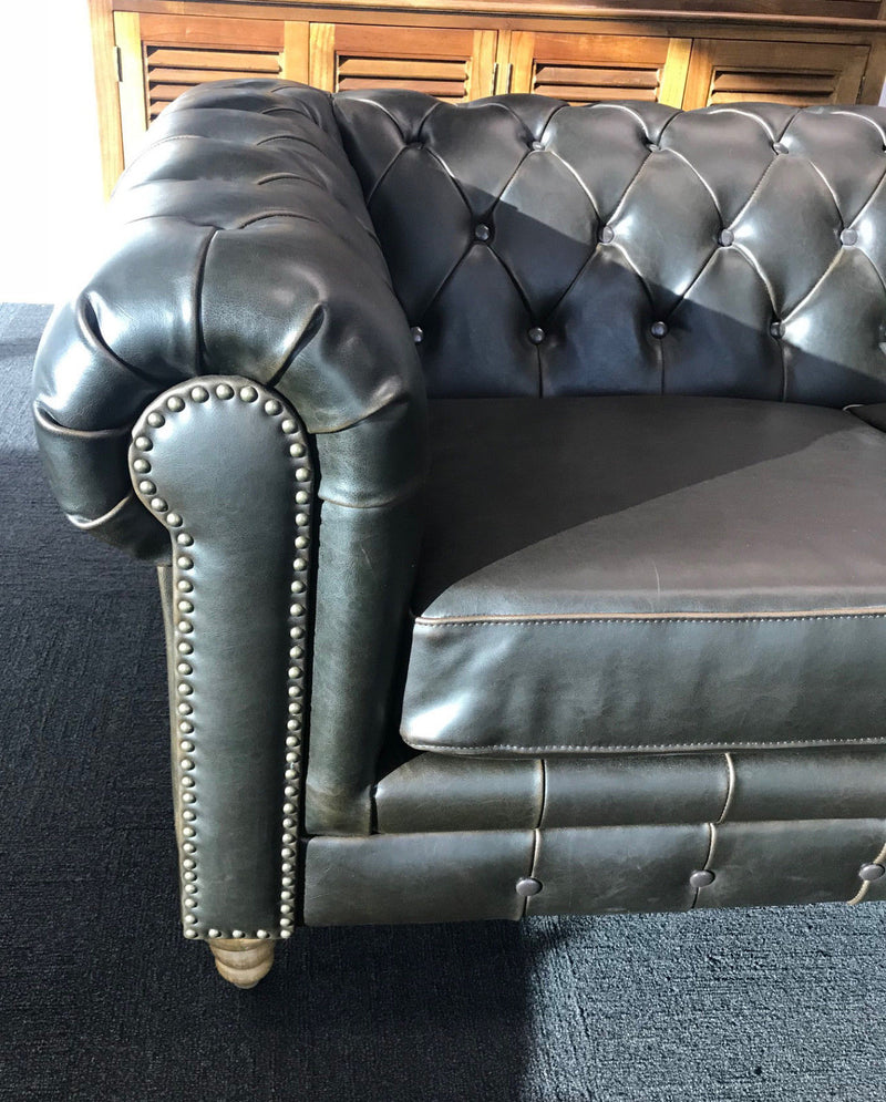 Chesterfield 2 Seater Sofa Leather Oak Hardwood Lounge