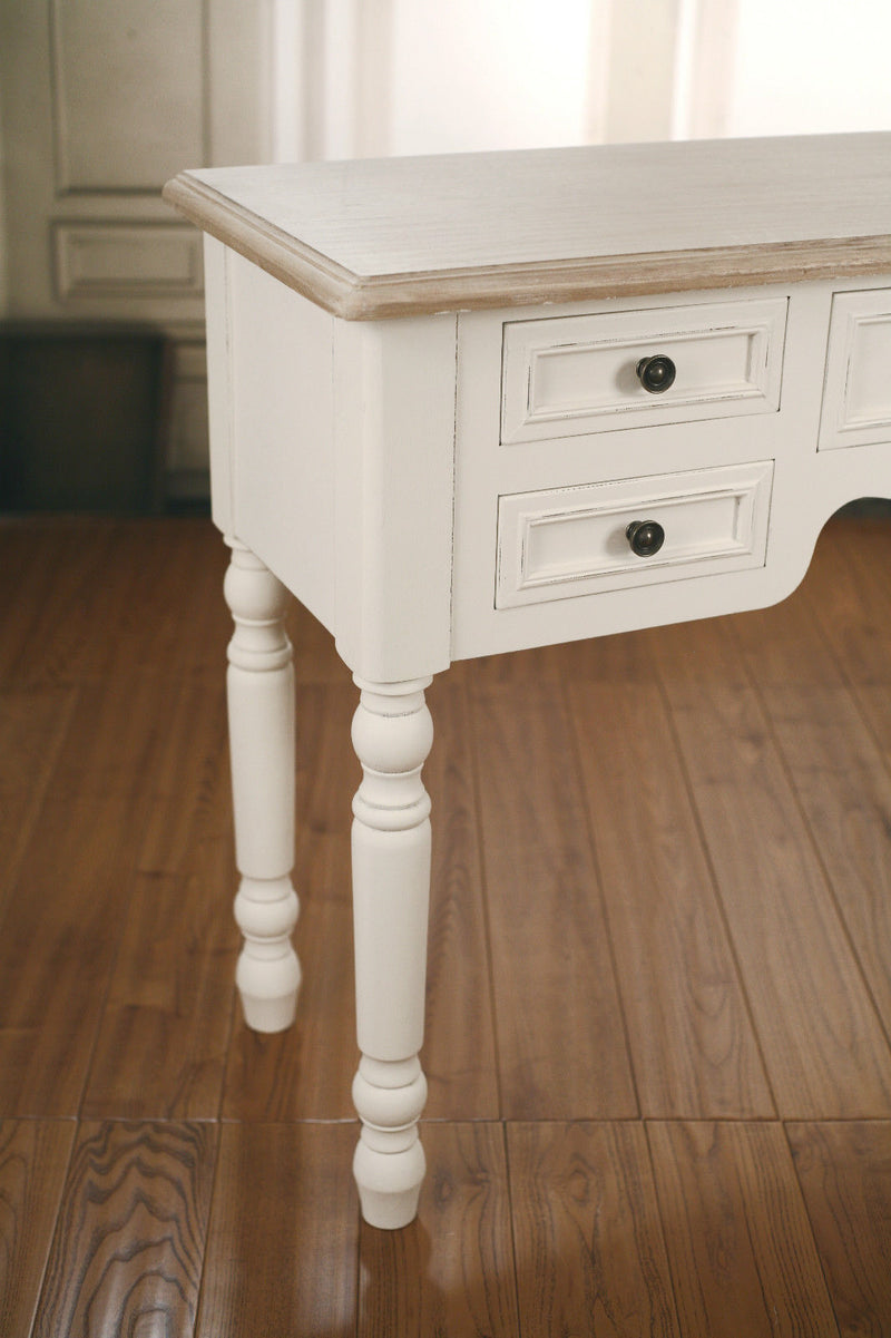 French Provincial Desk Side Table Antiqued Style 5 Drawers Unit