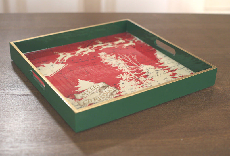 Drinks Tray Christmas Style Picnic Tray Gloss Finish Festive Home Decor 32cms