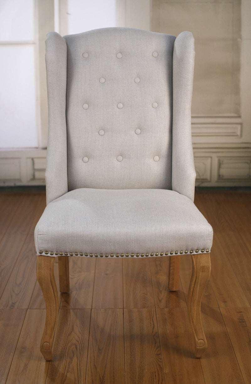 Dining Chair French Provincial Oak and Linen
