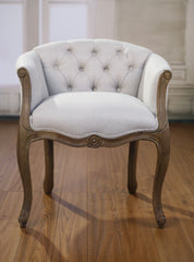 Dining Chair French Provincial Oak Button Bedroom Chair Linen